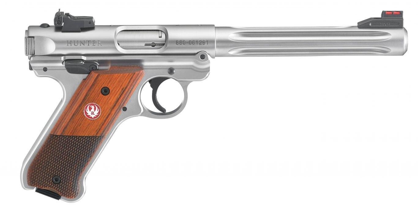 Pistole Ruger Mark IV Hunter / 10 ran, ráže .22 LR – Stříbrná (Barva: Stříbrná)