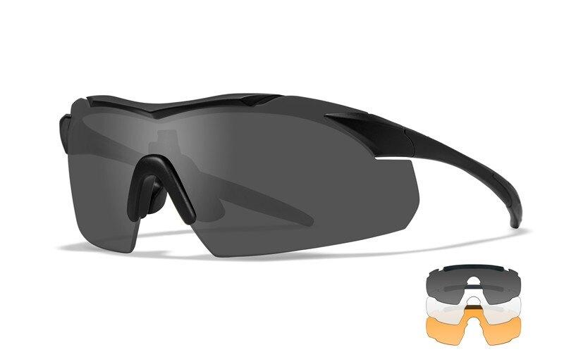 Střelecké brýle Vapor 2.5 Wiley X®, 3 skla – Čiré + Kouřově šedé + Oranžové Light Rust, Černá (Barva: Černá, Čočky: Čiré + Kouřově šedé + Oranžové Lig