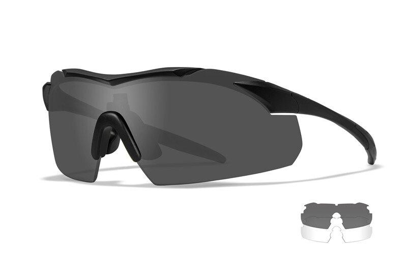 Střelecké brýle Vapor 2.5 Wiley X®, 2 skla – Čiré + Kouřově šedé, Černá (Barva: Černá, Čočky: Čiré + Kouřově šedé)