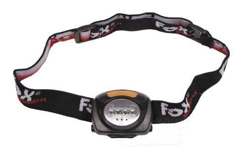 Čelové LED svietidlo vyklápacie so 4 bielymi a 3 červenými LED FOX OUTDOOR® - čierne
