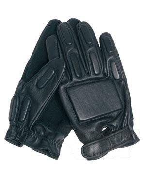 Kožené rukavice s gumovým polstrováním Mil-Tec® - černé