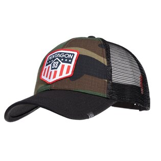 Kšiltovka Era Trucker US Flag PENTAGON® - US woodland
