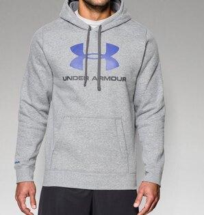 Mikina s kapucí UNDER ARMOUR® Rival Charged - šedá-modrá
