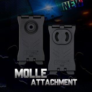 Molle klip R - Serie Cytac® - obdĺžnikový, čierny