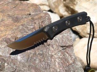 Nôž s pevnou čepeľou ANV® P200 s kombinovaným ostrím - Satin, puzdro kožené