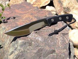 Nôž s pevnou čepeľou ANV® P500 - Satin, puzdro kožené