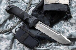 Nôž s pevnou čepeľou Kizlyar SUPREME® Dominus AUS 8 s kombinovaným ostrím, Satin