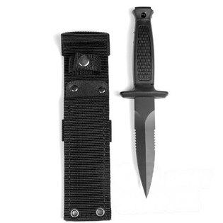 Nôž z pevnou čepeľou - vrhacie nôž Mil-Tec® BOOT s gumovou rukoväťou a kombinovaným obojstranným ostrím, čierny