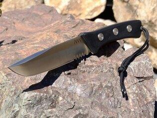 Nůž s pevnou čepelí ANV® P400 s kombinovaným ostřím - Satin, pouzdro Kydex®
