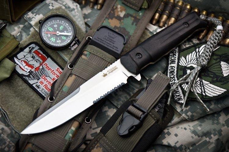 Nůž s pevnou čepelí KIZLYAR SUPREME® Alpha AUS 8 Serrated - černý