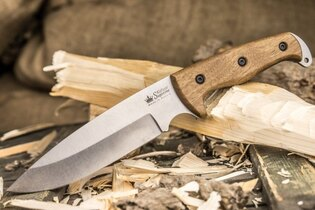 Nůž s pevnou čepelí KIZLYAR SUPREME® Shark AUS 8 Stone Wash - hnědý