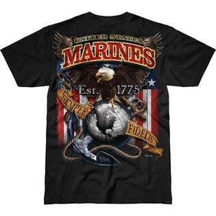 Pánske tričko 7.62 Design® USMC Fighting Eagle - čierne