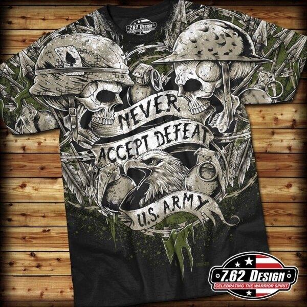 Pánské tričko NEVER ACCEPT DEFEAT 7.62 Design