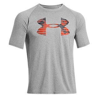 Pánské triko UNDER ARMOUR® Core Broken Stripe Logo HeatGear® - šedé