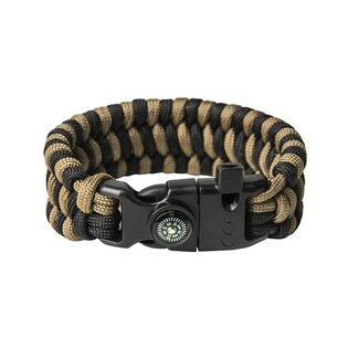 Paracord náramek Survival - Black / Coyote