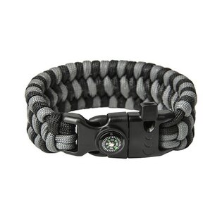 Paracord náramek Survival - Black / Grey
