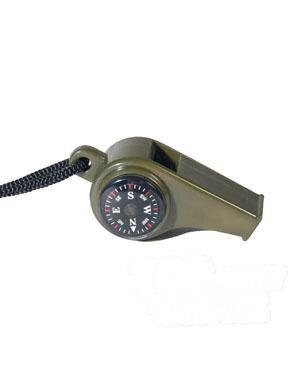 Survival píšťalka s kompasem a teploměrem Mil-Tec® - oliv