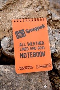 Vodě-odolný poznámkový blok Snugpak® linkovaný, čtverečkovaný