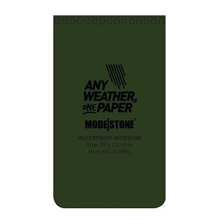 Voděodolný zápisník čtverečkovaný 76 mm x 130 mm Modestone®, 50 listů - zelený