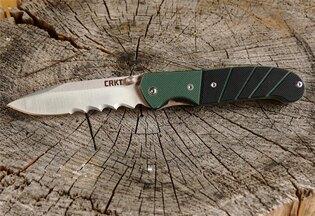 Zavírací nůž Ignitor® CRKT® kombinované ostří - zelený