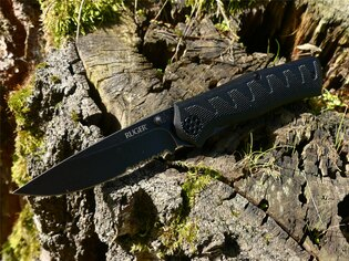 Zavírací nůž Ruger Combo CRKT® kombinované ostří - černý