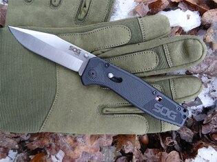 Zavírací nůž SOG® Flare - satin, černá rukojeť